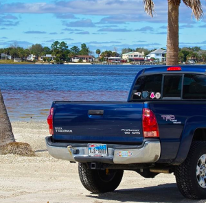 My truck on a beach in Jacksonville. Not a bad place to spend the winter.