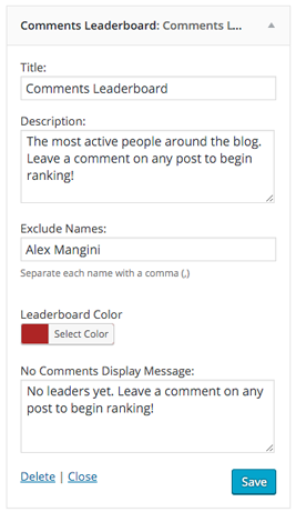 Comments Leaderboard Widget